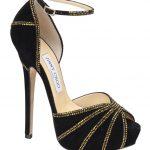siyah kadife dore taşlı ayakkabı modeli