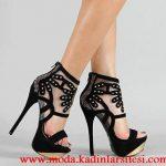 siyah kadife platformlu ayakkabı modeli