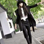 siyah kapşonlu kaban modeli
