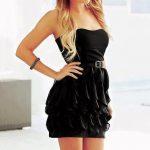 siyah kat kat straplez dekolteli mini elbise modelleri