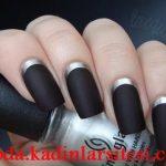 siyah mat tırnak süsleme modeli