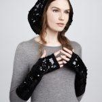 siyah payetli eldiven modeli