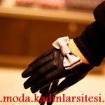 siyah pembe fiyonklu eldiven modeli