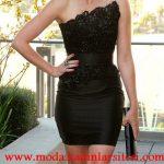 siyah straplez mini gece elbisesi modeli