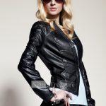 siyah yakasız deri ceket modeli