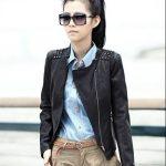 siyah zımbakı deri ceket modeli