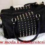 siyah zımbalı çanta modeli
