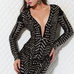 siyah zımbalı gece elbisesi modeli