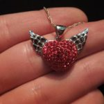swarovski taşlı kalpli kolye ucu
