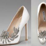 taşlı beyaz gelinlik ayakkabı modeli