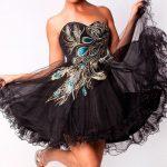 tavus kuşu tüylü gece elbisesi