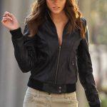 trikolu siyah bayan deri ceket modeli