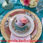 turkuaz dore tabak dekorasyon modeli