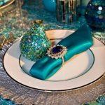 turkuaz temalı tabak dekorasyon modeli