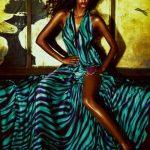 turkuaz zebra desenli gece elbisesi modeli