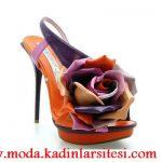 turuncu güllü ayakkabı modeli