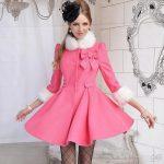 yakası kürklü önü fiyonklu pembe kışlık bayan ceket hırka modeli
