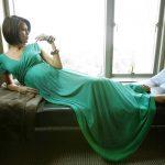yeşil kruvaze yaka hamile elbisesi yeni