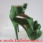 yeşil saten ayakkabı modeli