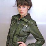 yeşil spor deri ceket modeli