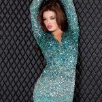 yeşil taşlı gece elbisesi modeli