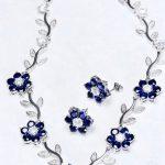 çiçekli ve yapraklı kolye seti modeli