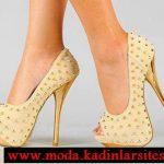 şampanya rengi zımbalı ayakkabı modeli