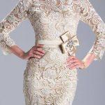krem rengi dantel gece elbisesi modeli