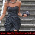 antrasit asimetrik elbise modeli