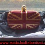 Alexander McQueen bayraklı gece çantası modeli
