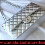 Chanel gümüş gece çantası modeli
