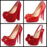 Kırmızı farklı ayakkabı modelleri