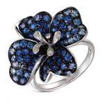 Mavi çiçek figürlü pırlanta yüzük modeli