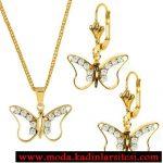 altın kelebekli kolye seti modeli