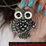 baykuş figürlü kolye ucu modeli