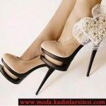 bej kalp detaylı ayakkabı modeli