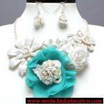 beyaz çiçekli kolye seti modeli