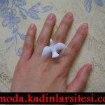 beyaz güvercin figürlü yüzük modeli