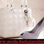 beyaz gri ayakkabı çanta modeli