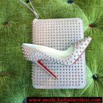 beyaz zımbalı ayakkabı çanta modeli