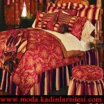 bordo şampanya yatak örtüsü modeli