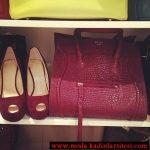 bordo ayakkabı çanta modeli