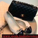 chanel siyah beyaz ayakkabı çanta modeli