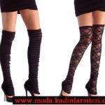 diz üstü desenli mus çorap modeli