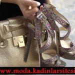 dore çanta ve renkli simli ayakkabı modeli