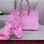 fuşya deri çanta ayakkabı modeli