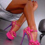 fuşya fiyonklu ayakkabı modeli