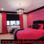 fuşya yatak odası modeli