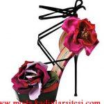 gül detaylı ayakkabı modeli