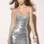 gümüş mini gece elbise modeli